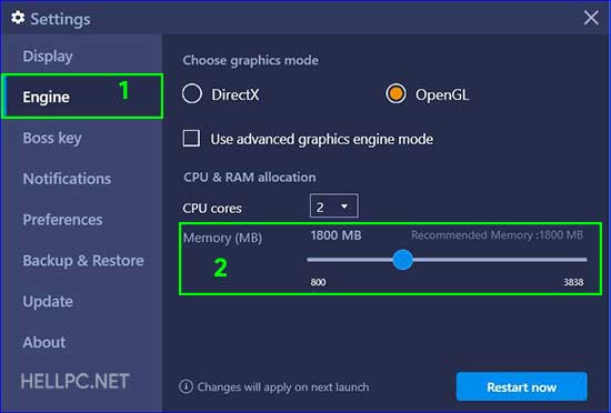 Increase RAM in BlueStacks
