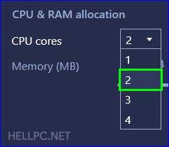 Increase CPU in BlueStacks