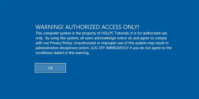 Display Warning Message On Windows Logon Screen