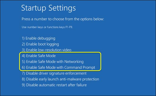 Press Number 4 Key Or F4 Key To Start Windows 10 In Safe Mode