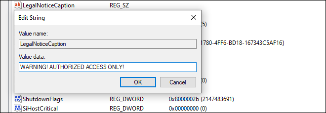 Set Caption Or Heading For Warning Message On Windows Logon