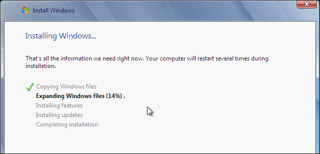 Windows 7 Clean Install In Progress