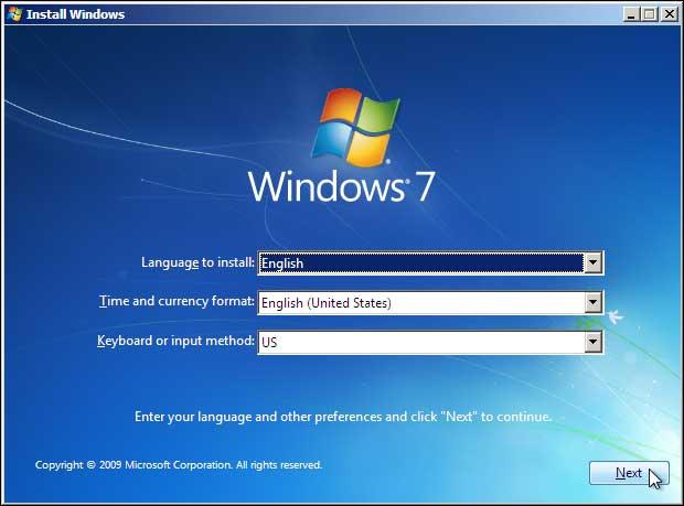 Windows 7 Setup Select Language Keyboard And Click Next