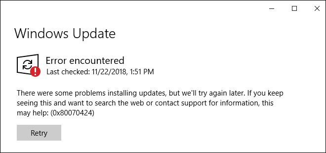 Windows Update Errors In Windows 10