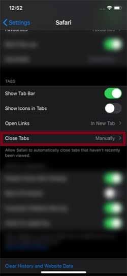Tap on Close Tabs option