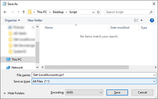 Save Script File As Ps1 File In A Folder On Desktop