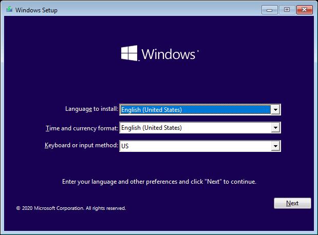 Windows 10 Setup Select Language Keyboard And Click Next