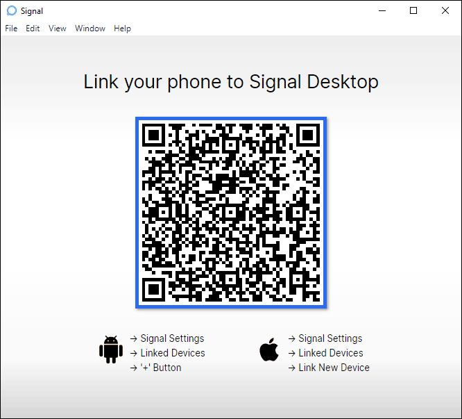 Signal Desktop Application Homepage Qr Code