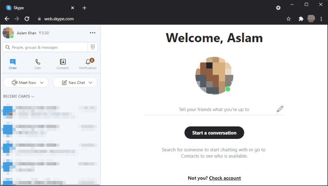 Use Skype Web App Via Chrome Browser On Chromebook