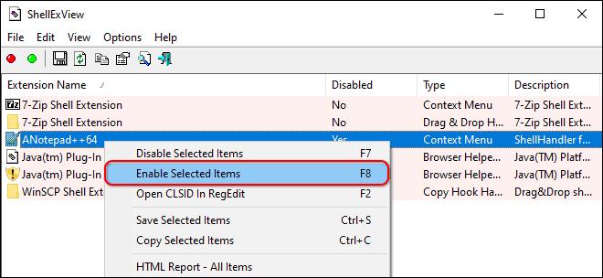 Restore Disabled Right Click Menu Items Using Shellexview
