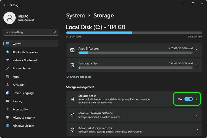 Turn On Or Enable Storage Sense In Windows 11